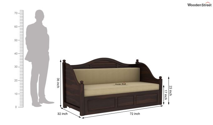 Noah Couch Cum Cot (King Size, Walnut Finish)-10