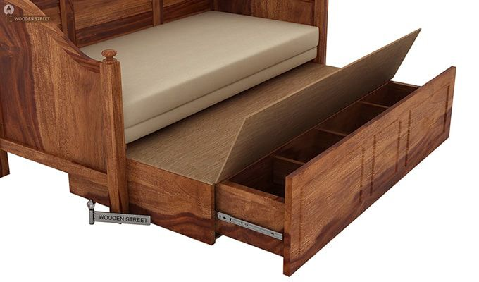 Noah Couch Cum Cot (King Size, Teak Finish)-6