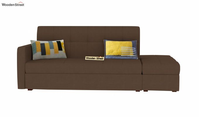 Omega L Shape Fabric Sofa Cum Bed with Ottoman (Classic Brown)-3