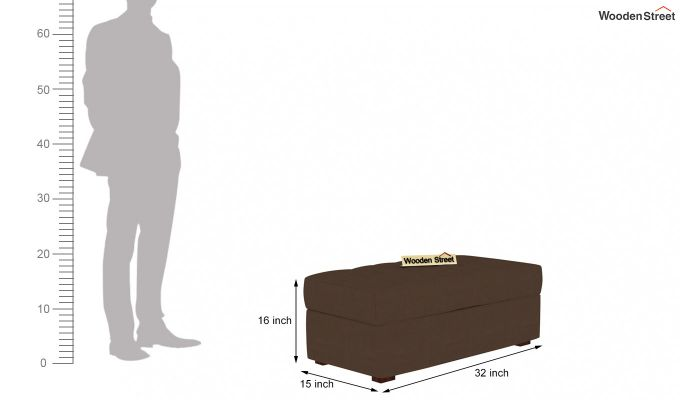 Omega L Shape Fabric Sofa Cum Bed with Ottoman (Classic Brown)-8