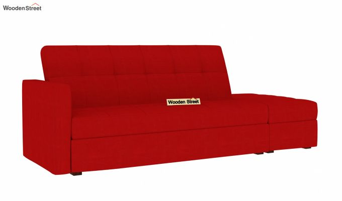 Omega L Shape Fabric Sofa Cum Bed with Ottoman (Dusky Rose)-2