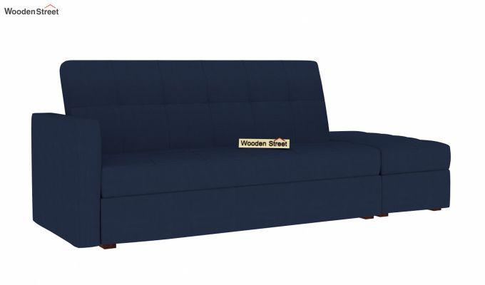 Omega L Shape Fabric Sofa Cum Bed with Ottoman (Indigo Ink)-2