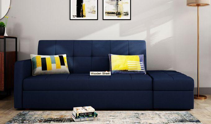 Omega L Shape Fabric Sofa Cum Bed with Ottoman (Indigo Ink)-1