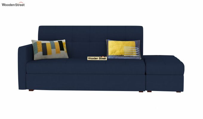 Omega L Shape Fabric Sofa Cum Bed with Ottoman (Indigo Ink)-3
