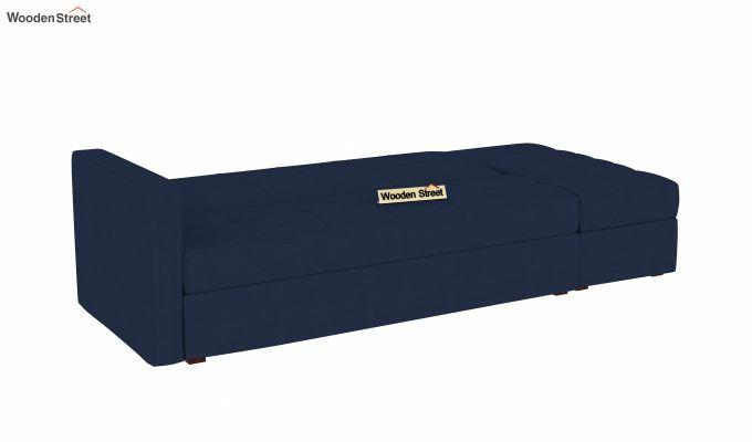 Omega L Shape Fabric Sofa Cum Bed with Ottoman (Indigo Ink)-4