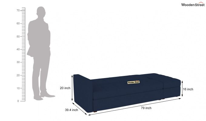 Omega L Shape Fabric Sofa Cum Bed with Ottoman (Indigo Ink)-7