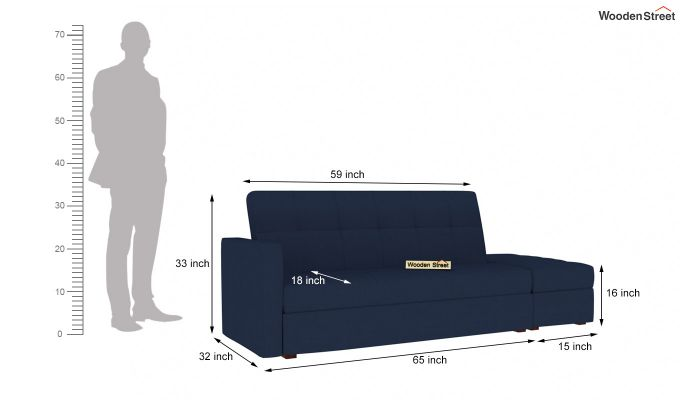 Omega L Shape Fabric Sofa Cum Bed with Ottoman (Indigo Ink)-9