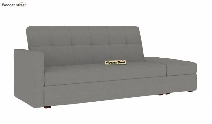 Omega L Shape Fabric Sofa Cum Bed with Ottoman (Warm Grey)-2