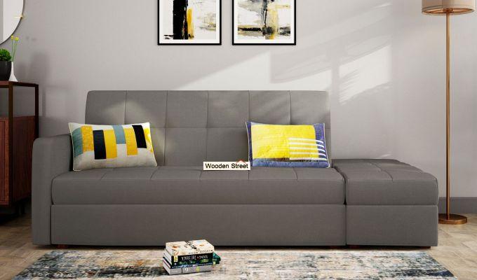 Omega L Shape Fabric Sofa Cum Bed with Ottoman (Warm Grey)-1
