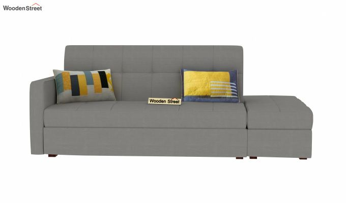 Omega L Shape Fabric Sofa Cum Bed with Ottoman (Warm Grey)-3