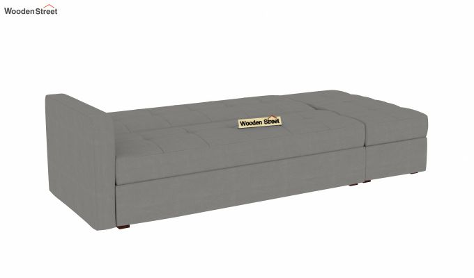 Omega L Shape Fabric Sofa Cum Bed with Ottoman (Warm Grey)-4