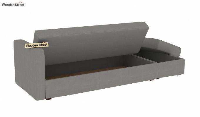 Omega L Shape Fabric Sofa Cum Bed with Ottoman (Warm Grey)-5