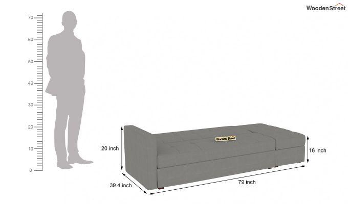 Omega L Shape Fabric Sofa Cum Bed with Ottoman (Warm Grey)-7