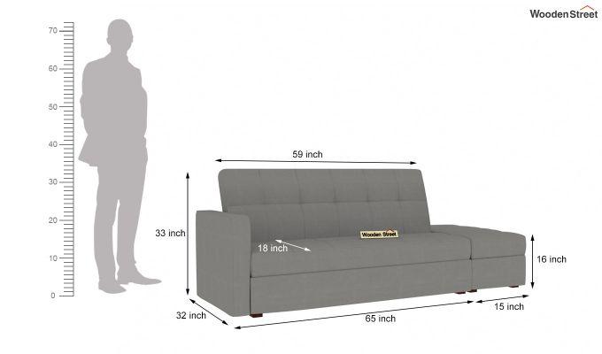 Omega L Shape Fabric Sofa Cum Bed with Ottoman (Warm Grey)-9