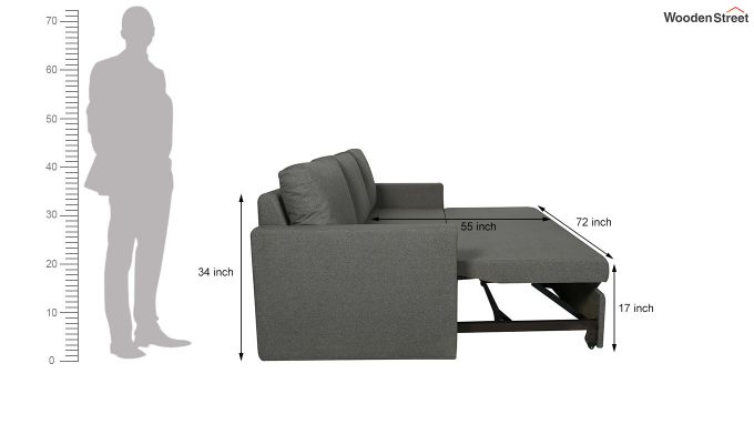 Rexford Fabric Sofa Cum Bed (Steel Grey)-7