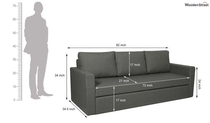 Rexford Fabric Sofa Cum Bed (Steel Grey)-8
