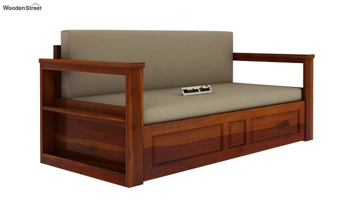 Riota Sofa Cum Bed With Storage (King Size, Honey Finish)-4