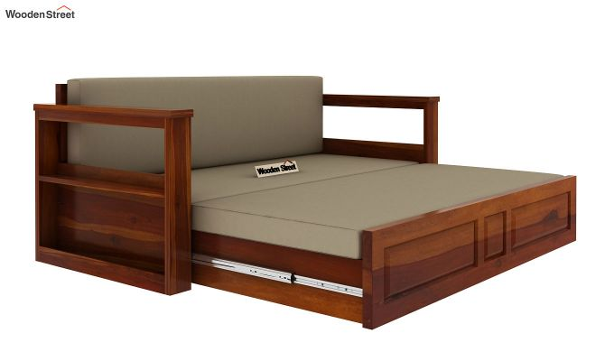 Riota Sofa Cum Bed With Storage (King Size, Honey Finish)-7