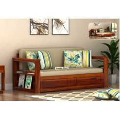 Riota Sofa Cum Bed With Storage (King Size, Honey Finish)