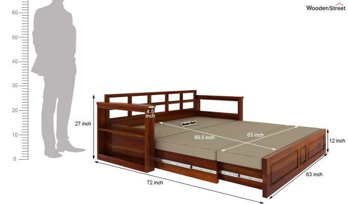 Riota Sofa Cum Bed With Storage (King Size, Honey Finish)-14