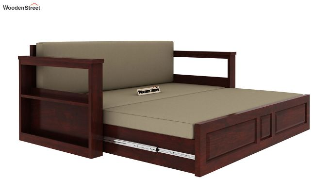 Riota Sofa Cum Bed With Storage (Queen Size, Mahogany Finish)-9