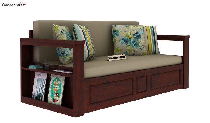 Riota Sofa Cum Bed With Storage (Queen Size, Mahogany Finish)-2