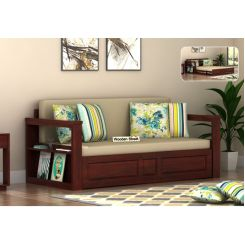 Riota Sofa Cum Bed With Storage (Queen Size, Mahogany Finish)