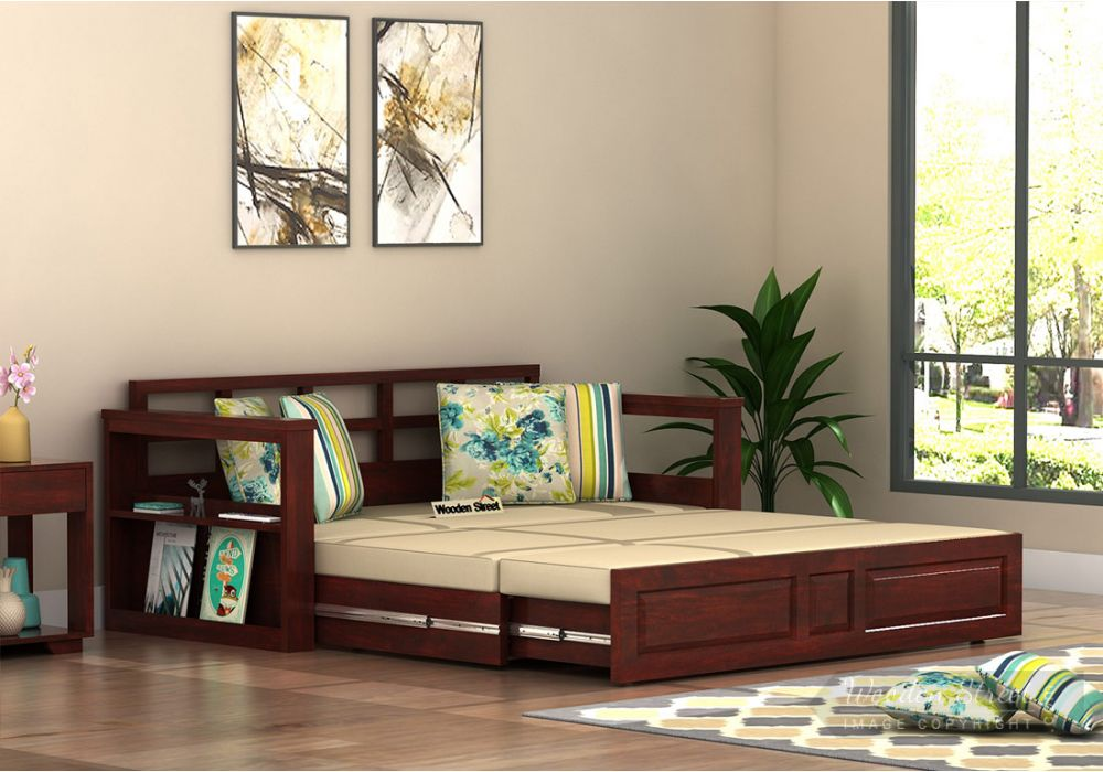 Riota Sofa Cum Bed With Storage Queen Size Mahogany Finish Look