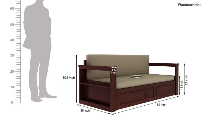 Riota Sofa Cum Bed With Storage (Queen Size, Mahogany Finish)-4