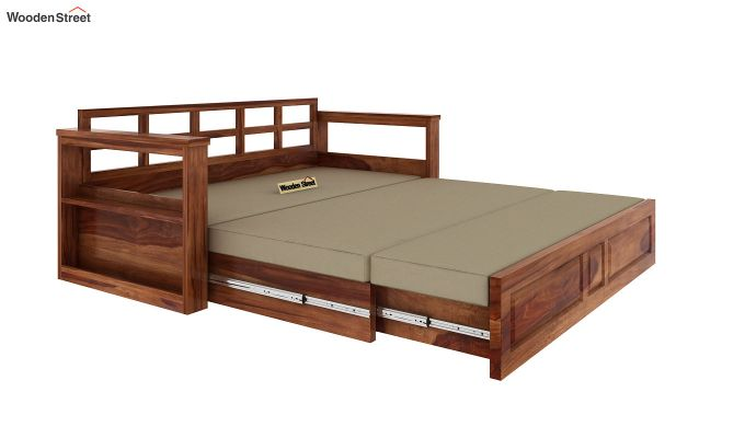 Riota Sofa Cum Bed With Storage (King Size, Teak Finish)-8