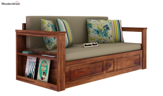 Riota Sofa Cum Bed With Storage (King Size, Teak Finish)-10