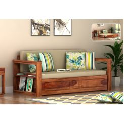 Riota Sofa Cum Bed With Storage (King Size, Teak Finish)