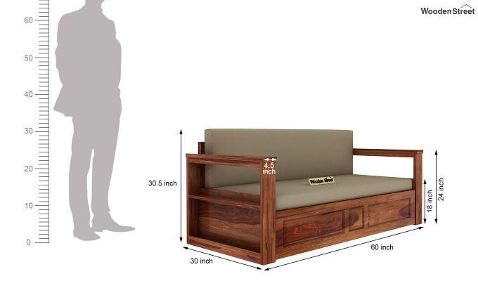 Riota Sofa Cum Bed With Storage (Queen Size, Teak Finish)-13