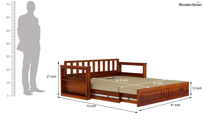 Riota Sofa Cum Bed With Storage (Queen Size, Honey Finish)-15