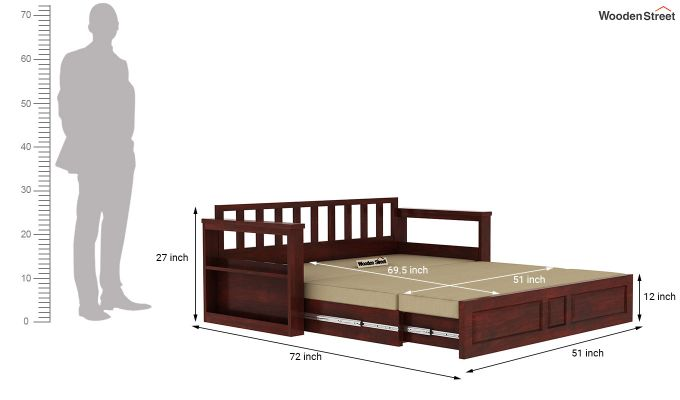 Riota Sofa Cum Bed With Storage (Queen Size, Mahogany Finish)-13