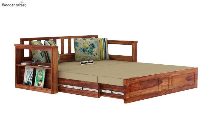 Riota Sofa Cum Bed With Storage (King Size, Teak Finish)-9