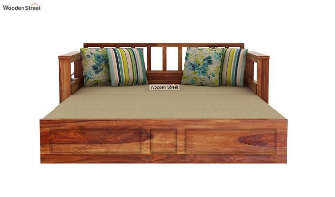 Riota Sofa Cum Bed With Storage (King Size, Teak Finish)-10