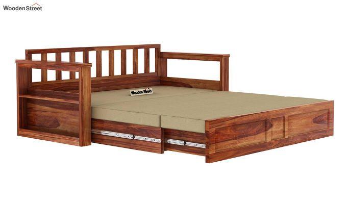 Riota Sofa Cum Bed With Storage (King Size, Teak Finish)-11