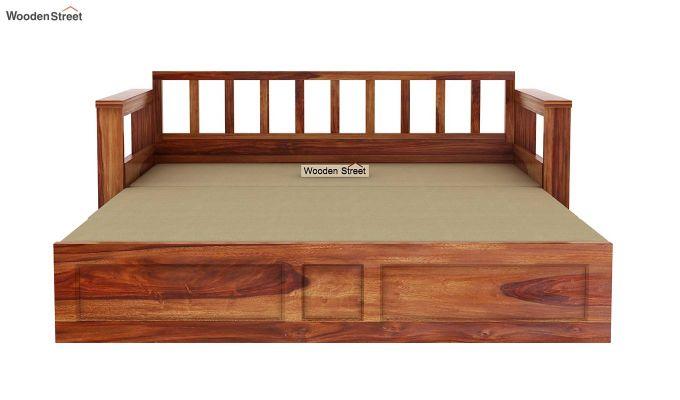 Riota Sofa Cum Bed With Storage (King Size, Teak Finish)-12