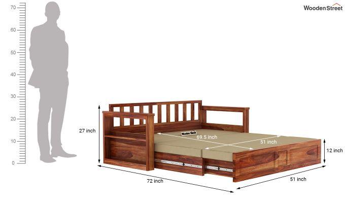 Riota Sofa Cum Bed With Storage (Queen Size, Teak Finish)-14