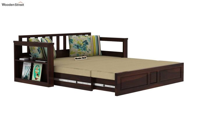 Riota Sofa Cum Bed With Storage (King Size, Walnut Finish)-9