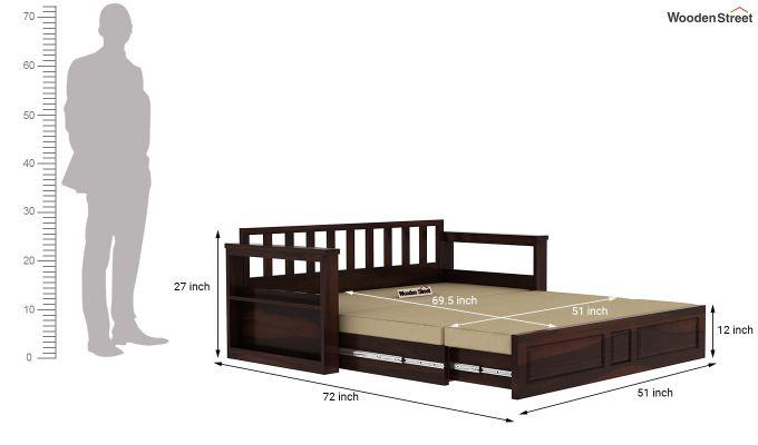 Riota Sofa Cum Bed With Storage (Queen Size, Walnut Finish)-14