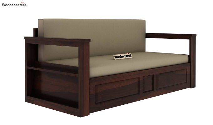 Riota Sofa Cum Bed With Storage (Queen Size, Walnut Finish)-4