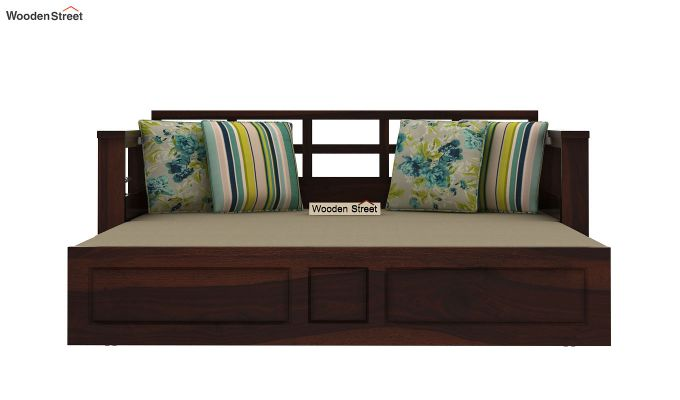 Riota Sofa Cum Bed With Storage (Queen Size, Walnut Finish)-3