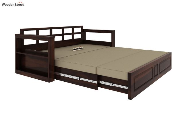 Riota Sofa Cum Bed With Storage (Queen Size, Walnut Finish)-8