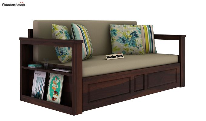 Riota Sofa Cum Bed With Storage (Queen Size, Walnut Finish)-10