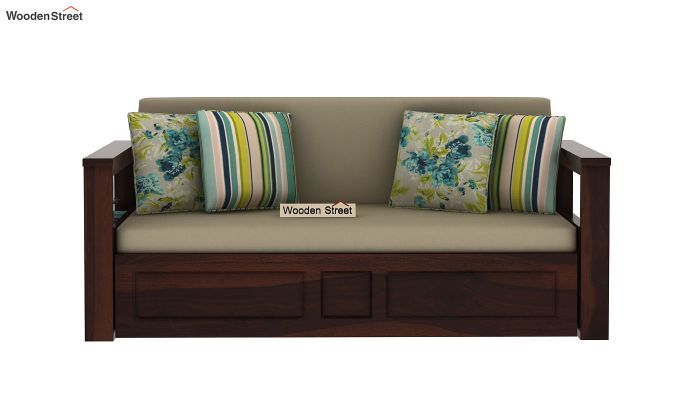 Riota Sofa Cum Bed With Storage (Queen Size, Walnut Finish)-11