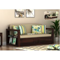 Riota Sofa Cum Bed With Storage (Queen Size, Walnut Finish)
