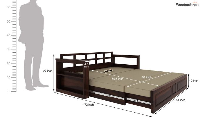 Riota Sofa Cum Bed With Storage (Queen Size, Walnut Finish)-14