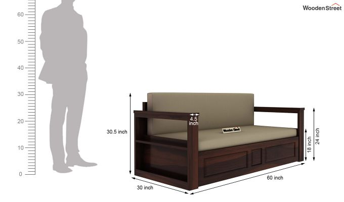 Riota Sofa Cum Bed With Storage (Queen Size, Walnut Finish)-13